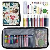 Looen Set of 59 Crochet Hooks Set with Case,14pcs Rubber Handles Hook 2.0-10.0mm,5pcs Plastic Girp Hooks 0.6mm-1.75mm Knitting Needles Hooks Kit for Beginner
