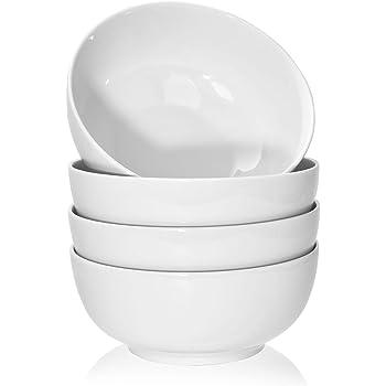 TGLBT 40 Ounce Porcelain Soup Bowls - 4 Packs, Stackable Round, White