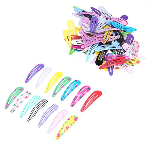 100pcs Water Droplets Shape Hairpins Cute Hair Clip Metal Barrette Bobby Pins for Kids Girls (Pure Color + Printing Pattern)