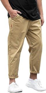 Xinwcang Uomo Caviglia Jeans Estate Cotone Casuale Pantaloni da Denim Gamba Dritta Slim Fit Pantaloni