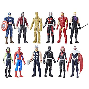 Avengers Marvel Titan Hero Series 12-inch Super Hero Action Figure 12-Pack Including Captain America Iron Man Spider-Man Black Widow Star-Lord and more! Gift Pack  Amazon Exclusive