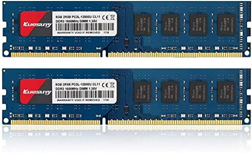 Kuesuny 16 Go Kit (2x8 Go) DDR3L 1600 MHz PC3-12800 Unbuffered Non-ECC 1.35V CL11 2Rx8 Dual Rank 240 Pin UDIMM Bureau Mémoire RAM Module Upgrade (16GB Kit (2x8GB))