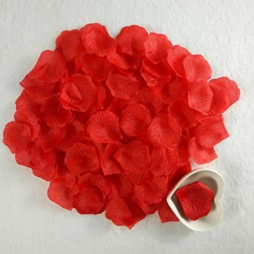 Beauty DIY Mart 1000 Pcs Pétalos de Rosa en Seda, Flores Artificiales Románticas para Decoración Bodas Fiestas Confeti y Dia de San Valent, Color Rojo