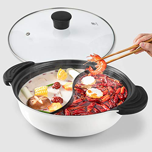 Kerykwan Food Grade Stainless Steel Aluminum Alloy Shabu Shabu Hot pot with Divider&Lid for Induction Cooktop Gas Stove Dual Sided Soup Cookware (10.7', White)