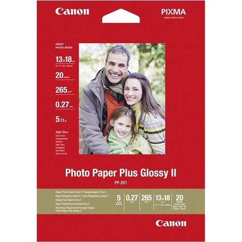 Canon Fotopapier PP-201 glänzend - 13x18 cm 20 Blatt für Tintenstrahldrucker - PIXMA Drucker (265 g/qm)