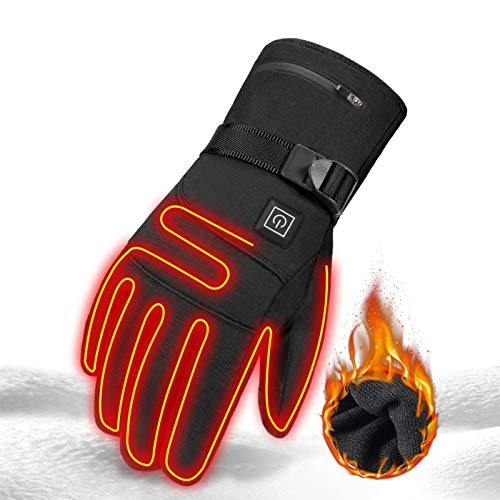 Skihandschuhe Geteilte Fingerhandschuhe mit Akku, beheizte Fausthandschuhe für Damen Herren/beheizbarer Winterhandschuh zum Skifahren Snowboarden Wintersport wasserdicht (Black1-USB)