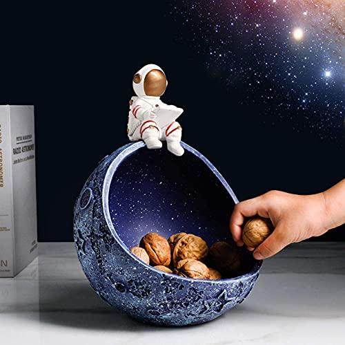 Figura de astronauta Estatua Cuenco de dulces, Clave decorativa creativa Miscelánea Soporte de cuenco de almacenamiento Estatua de astronauta Estatuilla Decoración de mesa de sala de estar en casa