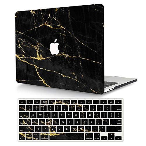 AJYX MacBook Pro 13 inch Case 2020 2019 2018 2017 2016 Release A2338 M1 A2289 A2251 A2159 A1989 A1706 A1708, Plastic Hard Shell Case Cover & Keyboard Cover for New Mac Pro 13 - Black Marble