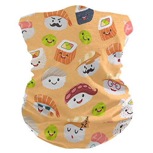 FELIZM Gesichtsschal, süßes Sushi-Emoticon-Brille, Bandana, Sturmhaube, Kopfband, multifunktional, für Damen und Herren, Kopfbedeckung, für Staub, UV-, Wind, Outdoor-Sport
