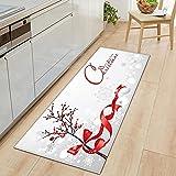WAXB Impresión Alfombrillas Alfombra Puerta Cocina Navidad...