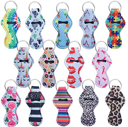 Dlazm Chapstick Holder Keychain, 14 Pieces Different Neoprene Lip Balm Keychain Holder (14 Cute)