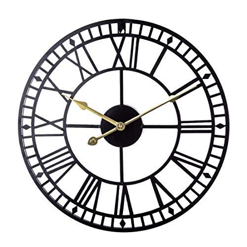 Dittzz 60cm Wanduhr Vintage, Groß Wanduhr Ohne Tickgeräusche Uhr Lautlos Metall Wanduhr Dekorative für Wohnzimmer, Küche, Büro und Schlafzimmer