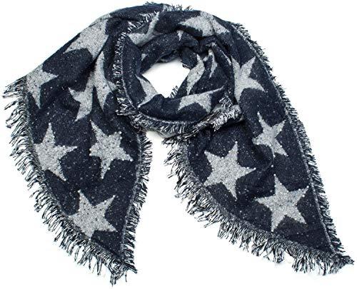 styleBREAKER Damen XXL Schal mit Sterne, Perlen und Fransen, Winter Strickschal 01017100, Farbe:Dunkelblau-Weiß
