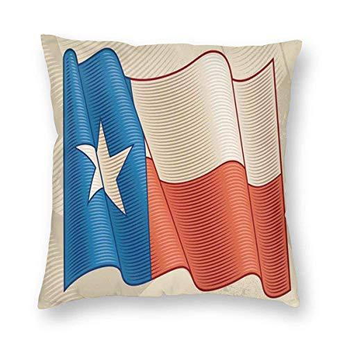 Fundas de almohada con diseño de estrella solitaria de la bandera de Texa, con efecto retro Americana, funda de cojín decorativa para decoración del hogar, sofá, almohada decorativa de 55,8 x 55,8 cm