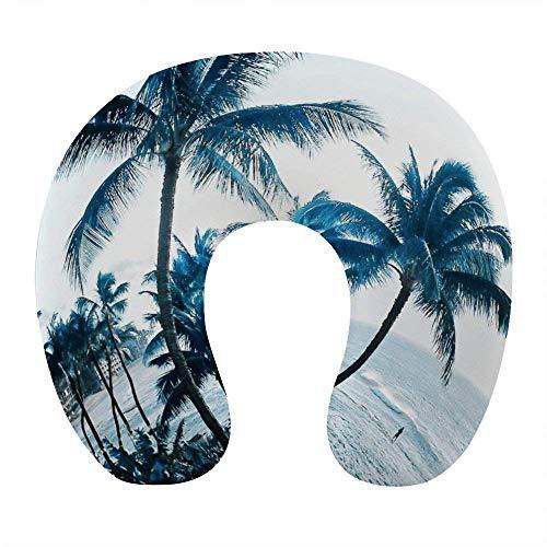 Mode-Nackenkissen für Flugzeugreisen Home Office, Komfort U-förmige Nackenstütze Schlafkissen mit abnehmbarem waschbarem Bezug, Hawaiian Coast Plam Tree