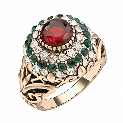 Turkish Red Antique Gold Color Women's Jewelry Golden Crown Green Crystal Finger Ring (7)