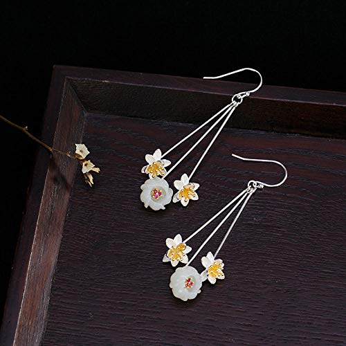 Damskie buty haftowane S925 Sterling Silver Natural Hetian Yumei Kwiat Kolczyki Retro Osobowości Damskie Kolczyki Biżuteria Jskdzfy (Color : 925 silver)