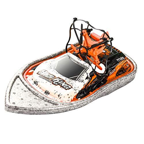 YANGUANG 3 En 1 Drone Barco Coche Agua Modo Tierra Modo Aire Modo 3 Altitud Mantener Modo Sin Cabeza RC Quadcopter Regalo para Niños Aerodeslizador Barco Recargable,Amarillo