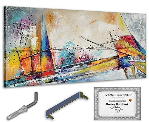 exclusive-gallery I Monica Mirafiori I Gemälde Minimalist I 140x70cm | XXL Leinwandbild handgemalt | Acrylgemälde auf Leinwand | Sehr großes Acrylbild auf Keilrahmen