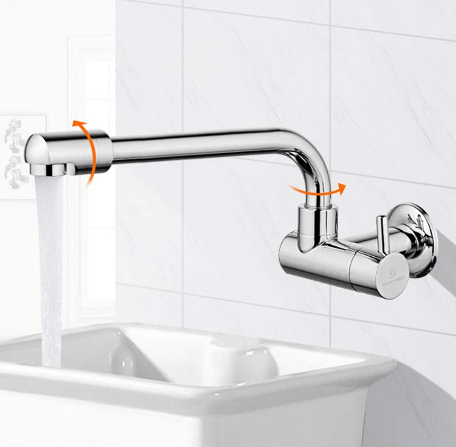 redOOY Extended wall-mounted single cold faucet Balcony laundry mop pool wash basin faucet splash-proof redatable home