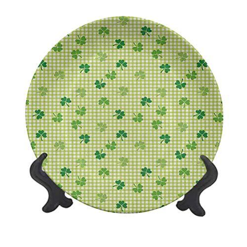 Placa decorativa de cerámica irlandesa de 25,4 cm, diseño retro clásico a cuadros con tréboles verdes, plantas de jardín, plato de cerámica decorativo para mesa de Navidad