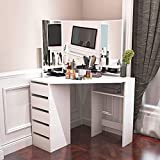 Corner Dressing Table Makeup Desk with Three-Fold Mirror and 5 Drawers Wooden Bedroom Vanity Table (White)