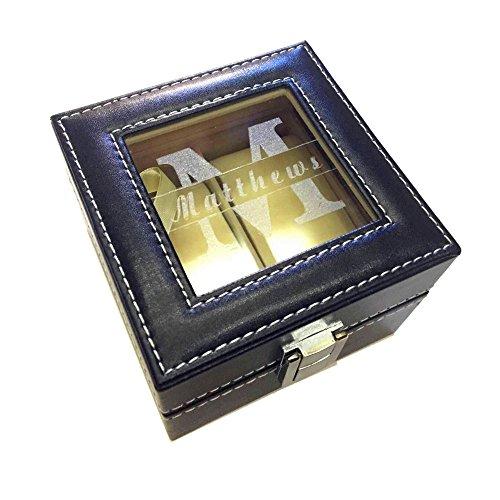 rainluckyrain Caja de reloj grabada caja de reloj caja de regalo de mejor hombre padrino novio regalo padre regalo de boda, caja de reloj personalizada organizador de joyería