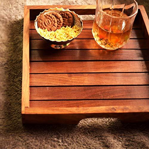 Holz-Serviertablett, Palisander Sheesham Holz Indische Handarbeit für Serviertablett/Esstisch., Palisander, Style 2, 11x11 inch