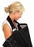 BebeChic * Qualité Supérieure 100 % Coton * Couverture d'Allaitement * Désossage Rigide - avec Sac de Rangement - noire à pois...