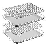 Baking Sheet with Rack Set [2 Pans + 2 Racks ] HKJ Chef Stainless Steel Cookie Sheet Baking Pan Tray...