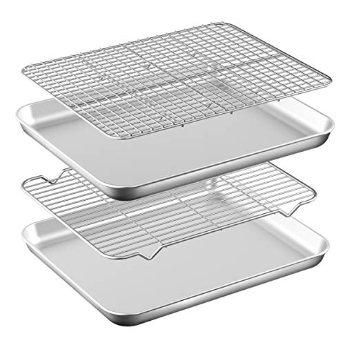 Baking Sheet with Rack Set [2 Pans + 2 Racks ] HKJ Chef Stainless Steel Cookie Sheet Baking Pan Tray with Cooling Rack, Size 17.5 x 13 x 1 Inch, Non Toxic & Heavy Duty & Easy Clean