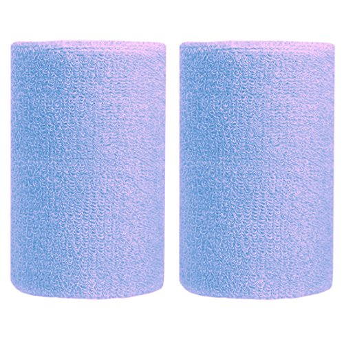 BBOLIVE 4' Inch Wrist Sweatband in 17 Different Neon Colors - Athletic Cotton Terry Cloth - Great for All Outdoor Activity(1 Pair) (Light Blue)
