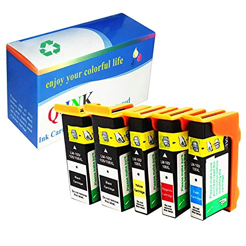 QINK 5 Pack (2BK 1C 1M 1Y) for Lexmark 100XL Ink Cartridges Black Cyan Magenta Yellow Compatible Show Accurate Ink Level High Yield High Capacity for Lexmark Pinnacle Pro 901 905 805 705 205 Printer
