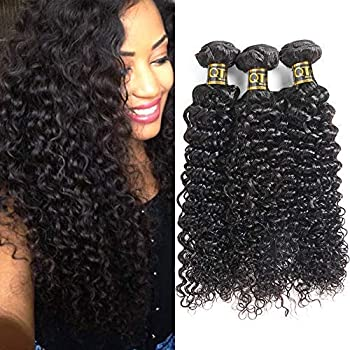 QTHAIR 12A 100% Unprocessed Brazilian Curly Virgin Hair Bundles Brazilian Kinky Curly Virgin Hair Human Hair Extensions Natural Color 18 20 22