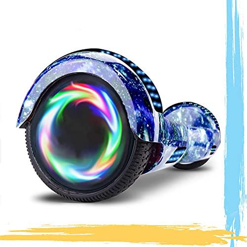 HST 6,5 Hoverboard mit 350W*2 Motorbeleuchtung RGB LED-Leuchten, Bluetooth-Lautsprecher, Self Balance Scooter, E Board Elektro, Skateboard Elektroroller mit Fernbedienung und Tasche (Blauer Himmel)