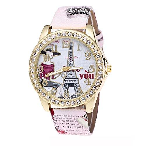 Mädchen Armbanduhr Traumzimmer Diamond Insert Eiffelturm In Paris Armbanduhr Lederband Quarz Frauen Druck Armbanduhr ImpräGniern Digital Simple Uhr Damen Uhren (Pink)