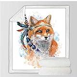 Xzfddn Golden Fox Sherpa - Manta para cama (terciopelo, diseño de estrellas, hojas de cachemira), diseño de zorro dorado