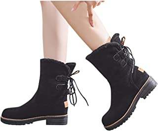 Women Winter Short Boots Suede Casual Round Toe Lace-Up Faux Fur Lined Warm Flats Ankle Booties Snow Shoes