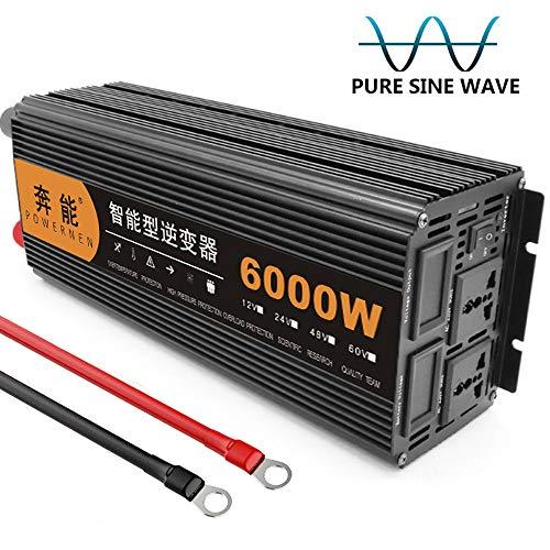 Kymzan Reiner Sinus Wechselrichter 3200 W / 4000 W / 5000 W / 6000 W / 8000 W / 9000 W / 12000 W / 15000 W Spannungswandler DC 12V/24V Auf AC 230V Umwandler - Inverter Konverter,12V-6000W