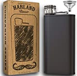 Harland 8oz Matte Black Flask + Funnel - 2x Wider Mouth Stainless Steel Hip For Liquor, Whisky, Leakproof Easy Pour in...