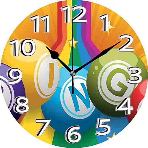 BeeTheOnly Reloj de Pared Bingo Bolas de Bingo Coloridas en Arco Iris sobre Fondo Explosivo Tiempo Libre Diversión Dormitorio Sala de Estar Cocina Reloj de casa 9.5in