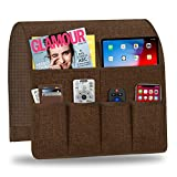 Naturoom Sofa Armrest Organizer, Non-Slip Couch Caddy Armchair Arm Chair Caddy with 6 Pockets Armchair Caddy forSmart Phone, Book, Magazines, Ipad, TV Remote Control Holder (Brown ,19'' x 35'')