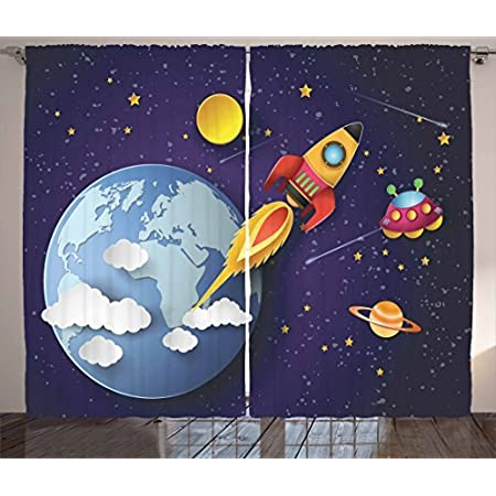 Toddler Boy Girl Outer Space Baby Blanket Hand Drawn Gift Astronaut Rocketship Planets Galaxy Alien Comet Earth UFO Saturn Moon
