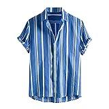 kiuseg Fashion Summer Shirts Men's Casual Printed Pockets Short Sleeve Button Downs Top Blouse