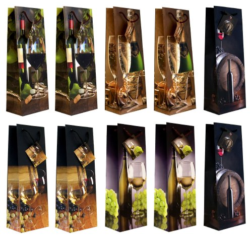 Taunus 99-3005 - Bolsas para botellas (10 unidades, diseño de botellas de vino)