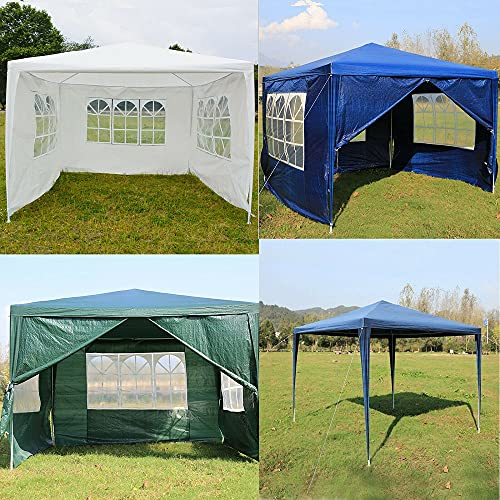 AutoBaBa 3x3m Garden Gazebo Marquee Tent with Side Panels, Fully Waterproof, Powder Coated Steel Frame for Outdoor Wedding Garden Party, Green