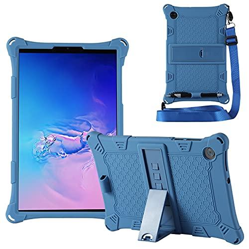 KATUMO Custodia Compatibile con Lenovo M10 HD 10.1  2a Generazione 2020 (TB-X306F X306X), Silicone Cover per Lenovo M10 FHD 10,3  2020 (TB-X606F X606X) Strappo e Tablet Stylus Pen,Blu scuro