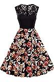 Axoe Vestido de fiesta sin mangas con estampado floral de los años 50...