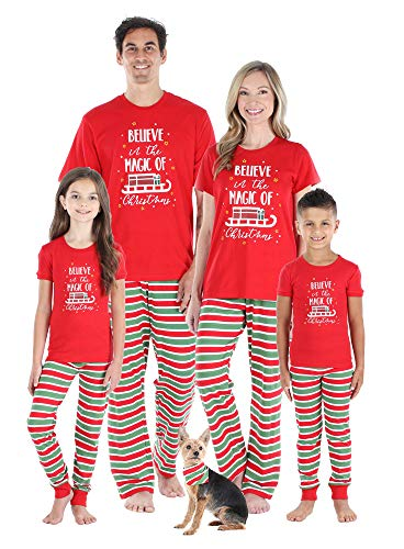 Sleepyheads Christmas Short Sleeve Family Matching Pajama Red Green Striped Sets, Red Top, Kid's 6