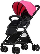 La Silla de Paseo para bebés Puede Sentarse con una sombrilla reclinable Plegable y Liviana DE 0-3 años (Color : Rosa roja)
